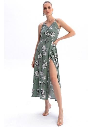 Emjey Askılı Kruvaze Elbise Yeşil
